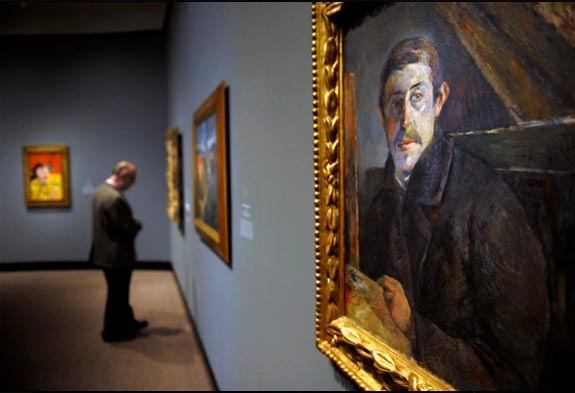 "A self-portrait of Paul Gauguin from 1885 is seen during a media preview showing of the ""Gauguin: Maker of Myth"" exhibit at The National Gallery of Art."