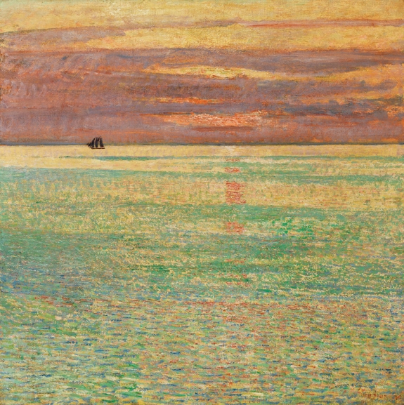 Childe Hassam (1859–1935) Sunset at Sea, 1911. Oil on canvas, 34-3/4 x 34-1/2 inches. Private collection; Image courtesy of Brock & Co., Concord, Mass. Photography by Clements/Howcroft.