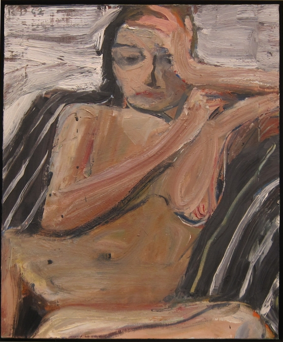Richard Diebenkorn's 'Nude on Black and White Stripes.'