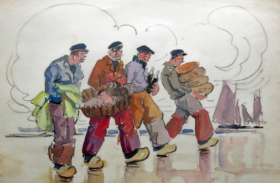 Eugene Sevellec (1897-1971) Breton Fisherman. Watercolor. Courtesy of Fletcher/Copenhaver Fine Art.