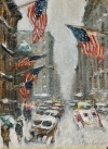 Guy C. Wiggins (1883–1962), Madison Avenue – Winter, signed, n.d.  Oil on canvas board, 12 x 9 inches.