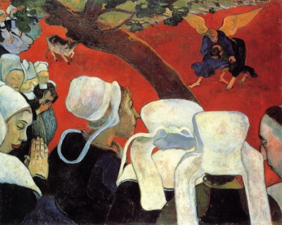 "Paul Gauguin's ""Vision of the Sermon (Jacob Wrestling with the Angel),"" 1888, oil on canvas."