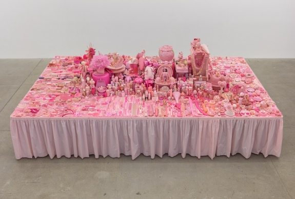 Portia Munson, Pink Project: Table 1994, found plastic, 29 ½ x 96 x 160 inches.