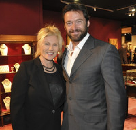 Hugh Jackman and Deborra-Lee Jackman at the Winter Antiques Show opening night party. Photographer: Amanda Gordon/Bloomberg