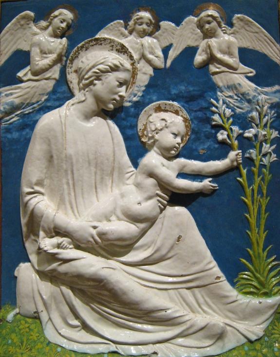 A sculpture by Luca Della Robbia.