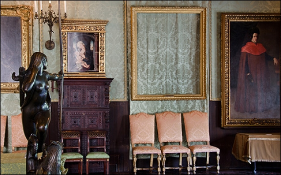 Empty frames at the Isabella Stewart Gardner Museum.