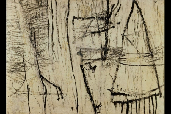 "Tiznit, 1953. White lead, oil based house paint, wax crayon and lead pencil on canvas. 53 ½ x 74 ½"" (135.9x 189.2 cm) © 2011 Cy Twombly."