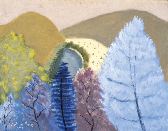 Milton Avery (1885–1965), Blue Trees, 1945. Oil on canvas, 28 × 36 inches. Neuberger Museum of Art, Gift of Roy R. Neuberger, Purchase College, State University of New York. © 2016 The Milton Avery Trust / Artists Rights Society (ARS), New York.
