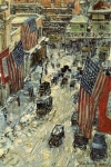 Childe Hassam's 'Flags on 57th Street, Winter,' 1918.