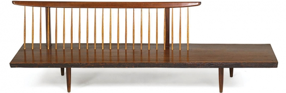 George Nakashima (1905–1990), fine early Conoid bench, Nakashima Studio, New Hope, PA, 1961. East Indian laurel, hickory, walnut. Signed with client name. 30 x 96 x 30 inches. Provenance: Copy of original invoice and order form. Estimate: $25,000–30,000.