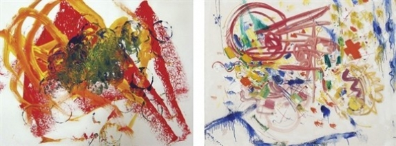The image on the left was drawn by 4-year-old Jack Pezanosky. The image on the right shows a work by Abstract Expressionist Hans Hoffmann.