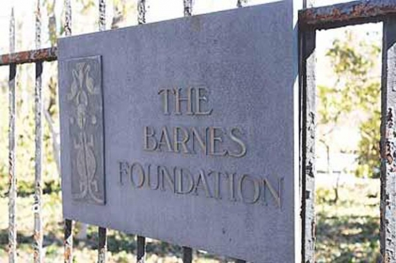 Sign on fence surrounding the Barnes Foundation in Lower Merion.