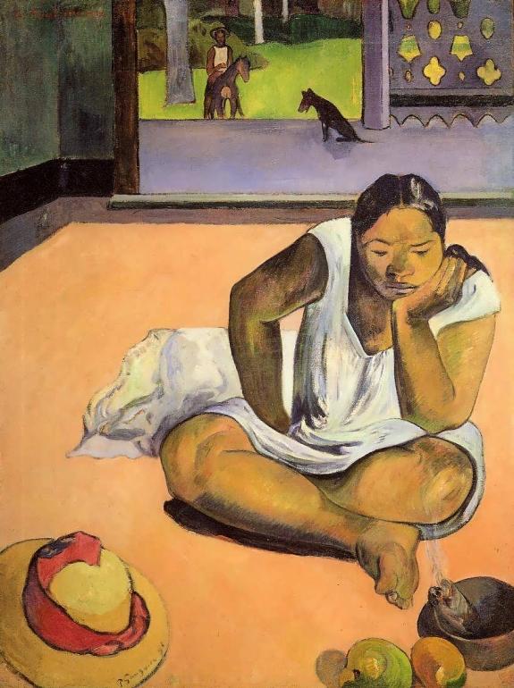 "Paul Gauguin Te Faaturuma (The Brooding Woman), 1892 oil on canvas framed: 114.6 x 92.1 cm (45 1/8 x 36 1/4 in.) unframed: 91.2 x 68.7 cm (35 7/8 x 27 1/16 in.) Worcester Art Museum (""Te Faaturuma"")"