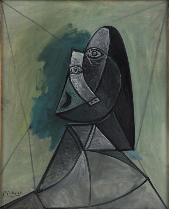 In this image made available Thursday, March 31, 2011, by the Van Abbe Museum in Eindhoven, Holland, Pablo Picasso's painting Buste de Femme, 1943 is seen. Palestinian and Dutch curators are scrambling to bring the 7 million dollar painting by Picasso to the West Bank, a volatile region where it will travel through Israeli checkpoints before landing at an art academy without the proper facilities to house it. Organizers hope it will be on display in Ramallah by early summer, but aren't making any grand announcements until all details are ironed out.