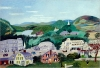 'Bennington,' an oil on board, was painted in 1945 by Anna Mary Robertson, also known as Grandma Moses. It will be part of the Bennington Museum's upcoming exhibit 'Grandma Moses and the Primitive Tradition,' opening in June. The exhibit will be the largest regional Moses show in the last decade. (Copyright 1985, Grandma Moses Properties Co., NY, Collection of Bennington Museum.)