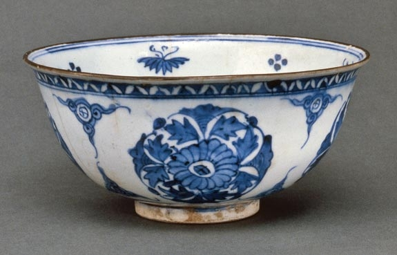 Artist not known,  Bowl with Floral Medallions, Iran;  Safavid period,  1600s. Stoneware,  underglaze blue.  Denver Art Museum;  Gift of BJ Averitt.