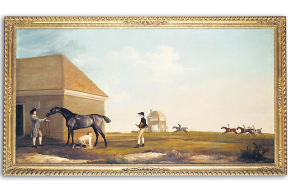 George Stubbs's Gimcrack on Newmarket Heath, with a Trainer, a Stable-Lad, and a Jockey, depicting one of the most popular racehorses of the 18th century, goes up for auction this summer.