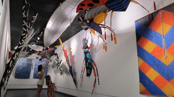 "The kites in ""Kites and Flights,"" on display at Florida's Jacksonville International Airport, depict birds, insects, clouds, airplanes, balloons, rockets and other flying objects."