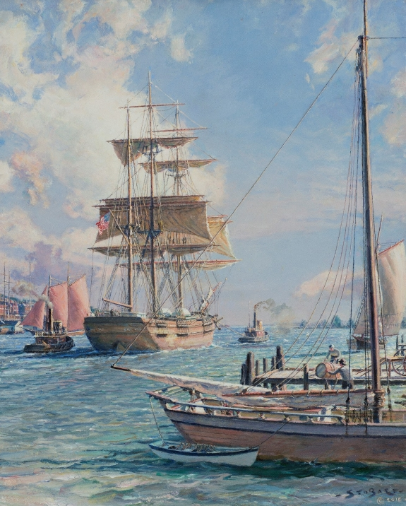 John Stobart (B. 1929) New York Shipping on the East River. Oil on canvas, 20 x 16 inches. Signed and dated 2015. Offered by Rehs Galleries.