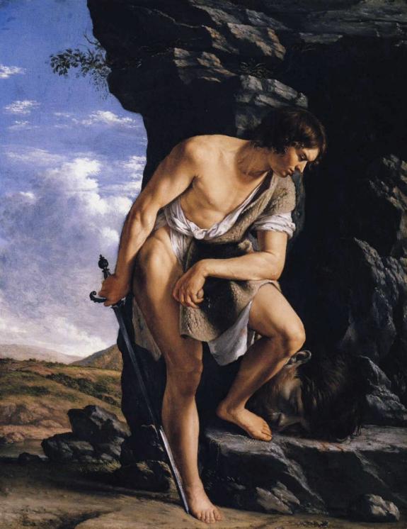 Pictured, David Contemplating the Head of Goliath, Gentileschi