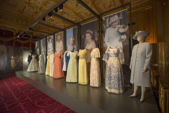 A selection of dresses from Fashioning a Reign in the State Dining Room, Windsor Castle.