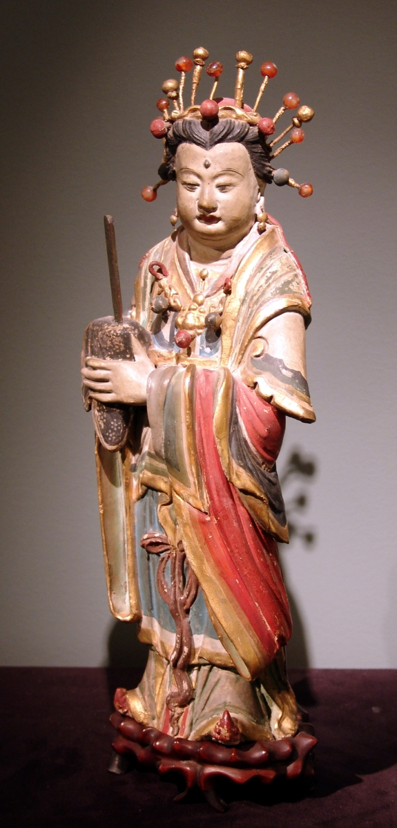 Chinese stucco figure, Yuang-Ming Dynasty, circa 14th-16th century.
