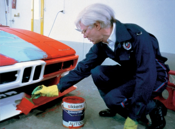 Andy Warhol paints directly onto a BMW M1 in 1979.