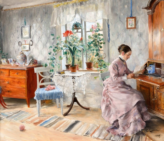 Carl Larsson (Stockholm 1853-Sudborn 1919), Reading Lady/Interior from Lilla Hyttnäs in Sundborn. Oil on panel, 45 x 54 cm. Signed and dated lower right: C. Larsson 1885. Offered by Åmells Konstandel.
