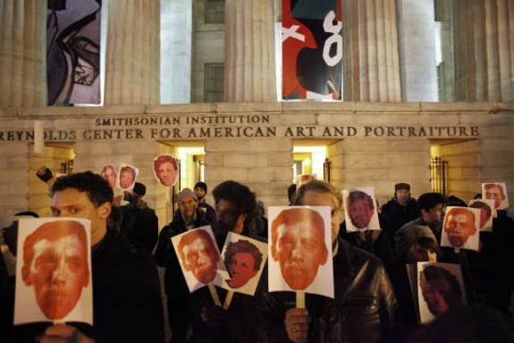 Protest over art censorship will greet Smithsonian chief before L.A. talk Thursday