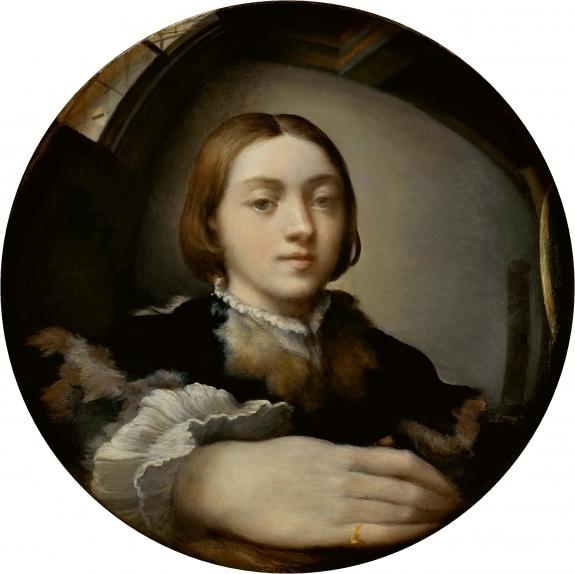 A self-portrait by Parmigianino.