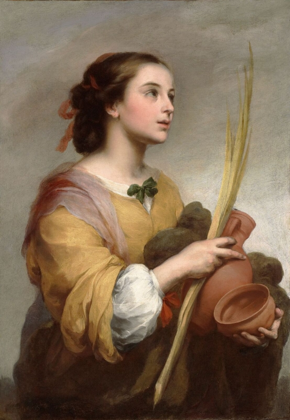 Bartolomé Esteban Murillo (Spanish, 1617-1682), Saint Justa, c. 1665. Oil on canvas. Meadows Museum, SMU, Dallas. Algur H. Meadows Collection, MM.72.04.
