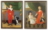 """This extraordinary pair of 18th c. Philadelphia portraits of children with their pets is attributed to Charles Peale Polk (1767 – 1822), and were painted c.1790. The subjects are the children of Matthew and Ruth Hall McConnell, a prominent merchant and landowner, as can be seen by the fine furnishings in their home. Among his many achievements, Matthew McConnell, a veteran of the American Revolution, was a member of the first board of directors of the Insurance Company of North America; a founding member of the Philadelphia Board of Brokers, the predecessor organization of the Philadelphia Stock Exchange; an original member of the Hibernia Society of Philadelphia; and served the Cincinnati. He was a good friend of Robert Morris and served as one of the auditors of his estate. The paintings descended in the family along with another painting by Polk, George Washington At Princeton, which later was given to the CIGNA Museum and Art Collection along with a portrait of Matthew McConnell by Thomas Sully. Extensive family history and documentation accompany the paintings. Oil on Canvas,  52"""" x 40"""";  50 1⁄2"""" x 40"""". In what appear to be the original carved and gilded 18th c. frames."""