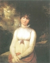 """The original painting """"Pauline in a white dress in front of a summery tree scenery,"""" often attributed to Phillip Otto Runge."""